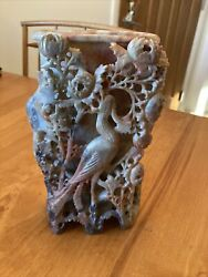Antique Chinese Carved Soapstone Vase With Crane And Flowers