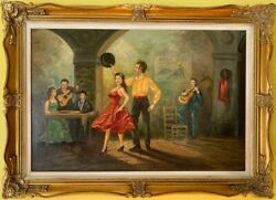 Listed Italian Artist Nino Salvadori Large Oil Painting On Canvas Coa Attached