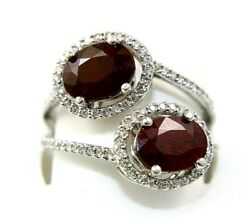 Natural Oval Ruby And Diamond Cluster Bypass Ring Band 14k White Gold 3.34ct