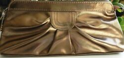 Bronze Evening Clutch or Cosmetic Make Up or Travel Bag Avon Zips Close Brown.. $7.19