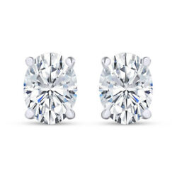 0.75 Ct Oval Cut Lab Grown Diamond Solitaire Stud Earrings 18k White Gold