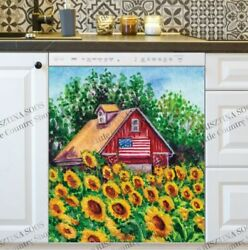 Kitchen Dishwasher Magnet - Old Red Barn With An American Flag