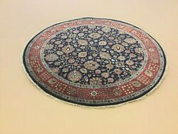 6' X 6' Navy Blue Reddish Rust Round Traditional Floral Handknotted Oriental Rug