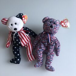 Rare Retired Beanie Babies Patriotic Bears Spangle Blue And Pink And Usa