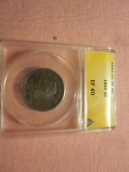 1845 Braided Hair Large Cent Anacs Graded Ef40 Xf40 1 One Cent Extra / Extremely