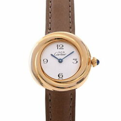 Must Trinity Vermeil White Dial Ladies Sv925 Silver White Gold Excellent