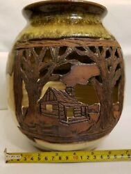 2012 Alewine Pottery Luminary Cades Cove Henry Whithead Place Hand Carved Vase.