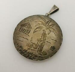 Preowned Vintage Engraved Pendant Palm Tree Hut 925 Sterling Silver J103