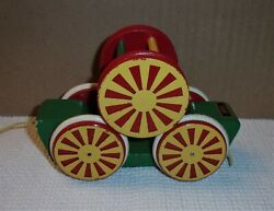 Vintage Brio Wooden Pull Toy Circus Cart Wagon Jingle Bell Wheel Made In Sweden