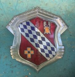 1942 And 1946 Buick Hood Emblem/badge With Cloisonne' Crest And Chrome Bezel