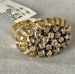14k Yellow Gold Ring With 1.22 Ct Black And White Diamonds. 6.50gr Gold