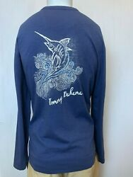 New Tommy Bahama Menand039s Marlin Wave Long Sleeve Lux T-shirt L Xl 2xl