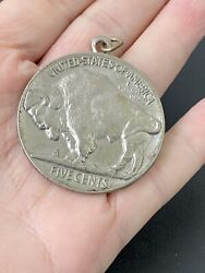 Pendant For Necklace Designed Like A Large Five Cents Nickel Buffalo Usa Medal