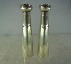 Pair Of Modernistic Solid Silver Pepperettes, William Atkin, Birmingham 1904