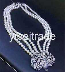 3 Rows Cultured Freshwater Pearl 8-9mm White Pendant Necklace 18-20 Inch
