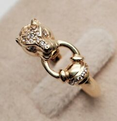 Brand Inspired Women Real Solid Genuine 14k Yellow Gold Panther Pave Band Ring