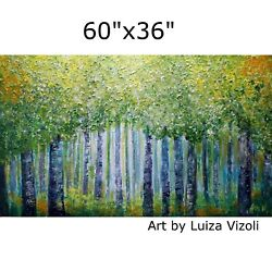 Xxl Painting 60x36 Spring Green Forest Flowers Bloom Birch Trees Impasto Large