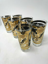 Fred Press Signed High Ball Glasses Gold Black Eagle Mid Century Modern Set Of 6