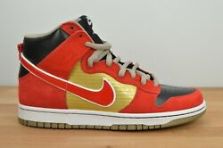 New Nike Dunk High Pro Sb 305050 701 Gold Sport Red Tecate Size 10.5