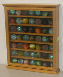 Marble/bouncy Ball Display Case Rack Cabinet With Glass Door Oak Finish