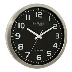 La Crosse Technology Atomic Clock Stainless Steel Finish Black Dial Glass Face