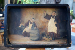 Vintage Hand Painted Wooden Tray/wall Art-french Monastery Wine Cellar Tasting