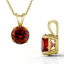 3 Carat Real Fancy Red Diamond 14k Yellow Gold Solitaire Pendant Necklace