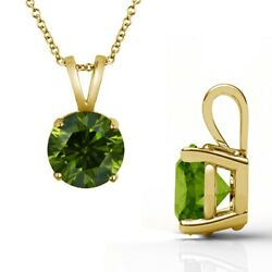 2.50 Carat Real Fancy Green Diamond 14k Yellow Gold Solitaire Pendant Necklace