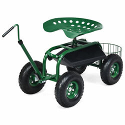 Garden Cart Rolling Work Seat Wagon Scooter For Planting W/extendable Handle