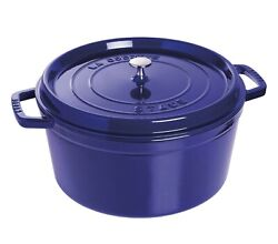 Nib Staub Cast Iron 13.25 Qt Dutch Oven French Oven Cocotte With Lid - Dark Blue