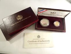 1988 U.s. Olympics Coins Proof Silver Dollar And Gold Five Dollar Set. 652