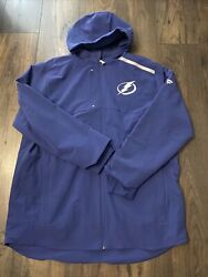 New Menand039s Tampa Bay Lightning Blue Authentic Pro Rinkside Full-zip Jacket Xl