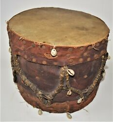 Early Antique Pueblo Native American Hand Made Leather Drum Shells