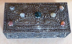 Agate Specimen Box In Silver Plate Hand-made Vintage India Circa -1960