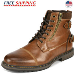 Bruno Marc Menand039s Combat Motorcycle Boots Oxford Dress Boot Lace Up Shoes Size Us