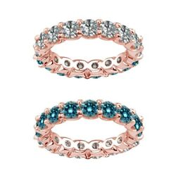 3.5 Carat Blue And White Real Diamond Reversible Eternity Ring Band 14k Rose Gold