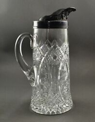Mckee And Bros Eapg Lenox Clear Glass Tankard Pitcher W/ Pewter Spout