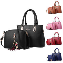 Lady Women Leather Handbag Shoulder Tote Crossbody Bags Purse Set Satchel 2pcs $21.99
