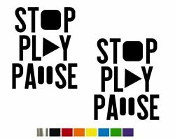 2 Stop Play Pause Vintage Vinyl Decal Set- Custom Size Color For Cars,trucks