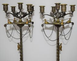 Antique Early Bronze Classical Gothic Candelabras Figures Birds Huge French