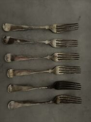 Rogers And Bro A1 Star 1800and039s Tipped Pattern 6 Forks Silver Plate