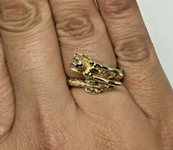 Estate Solid 22k 916 Yg 3d Textured Chinese Dragon Bypass Style Ring Size 7
