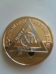 11 Year Aa Gold/silver Bi-plated Alcoholics Anonymous Chip Coin Medallion Xi