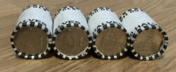 4 Unsearched Rolls Of Half Dollars, Kennedy, 40 Fv, Fed Sealed, Unknown Dates