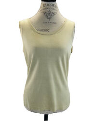 Brooks Brothers Solid Tank Champagne Beige Silk Knit Shell Tank Top Large