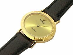 Rolex Cellini Oval 1601 K18yg Ladies Manual Winding Leather Gold Dark Brown Oval
