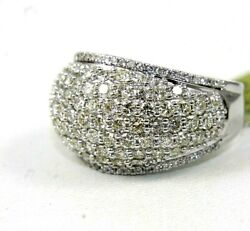 Natural Round Diamond Cluster Wide Dome Ladyand039s Ring Band 14k White Gold 2.60ct