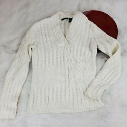 Relativity Womens Pullover Sweater Size M Ivory V-neck Cable Knit O79