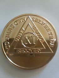 11 Year Aa Merlin Gold Plated Alcoholics Anonymous Chip Coin Medallion