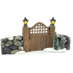 Dept 56 Snow Village Fieldstone Entry Gate Faux Wood W Rocks And Trees 52718 New